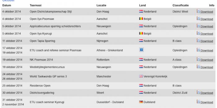 Wisten jullie dat Taekwondobond Nederland een overzichtelijke agenda heeft?